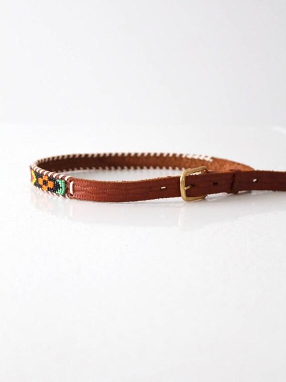 vintage kid's western belt, 1950s beaded leather … - image 6