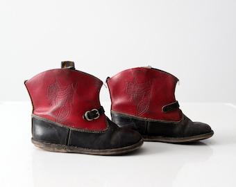 vintage 50s children's western boots, kid's cowboy boots
