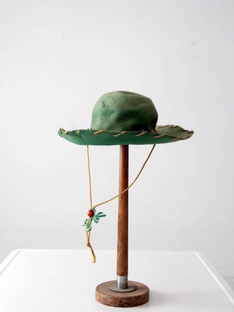 Cappello western in bambini di vintage 1950 verde per bambini  c8cc7ec3c845
