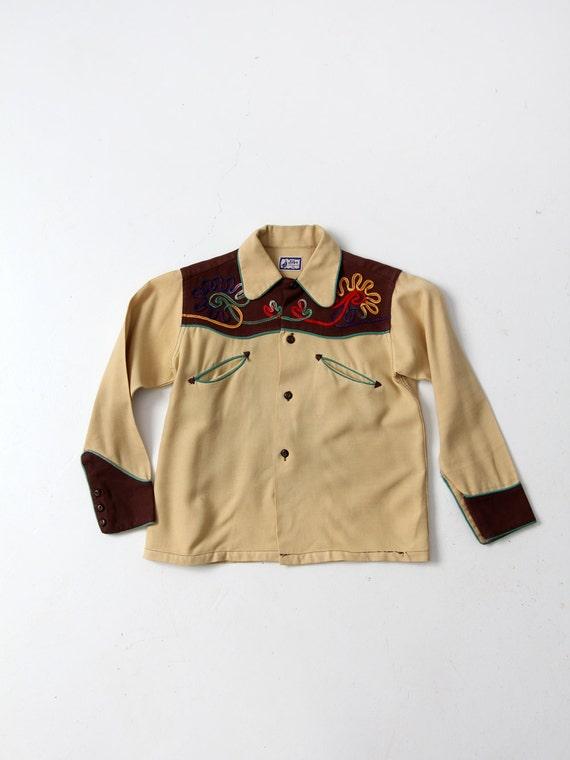 vintage kid's western shirt, 1950s cowboy shirt