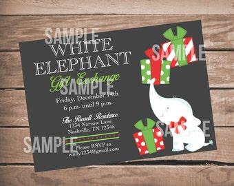 White Elephant Party, White Elephant Invitation, Christmas, Gift Exchange, Party, Invitation, Printable - White Elephant