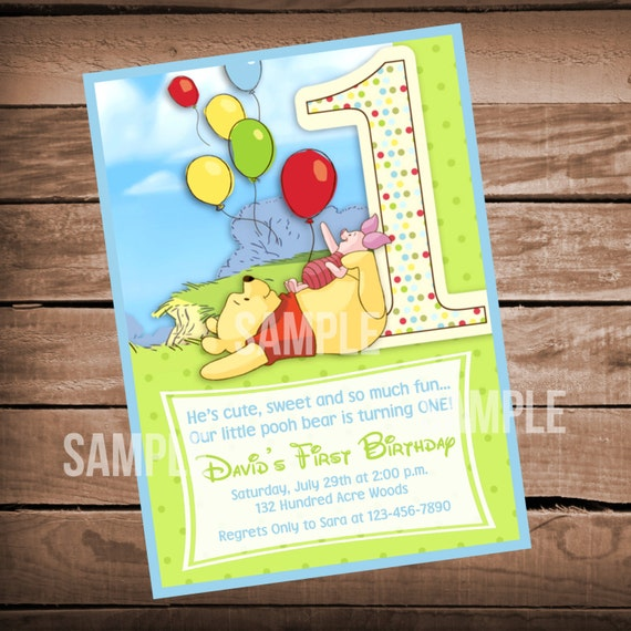 Winnie the pooh 1st birthday invitation etsy image 0 filmwisefo