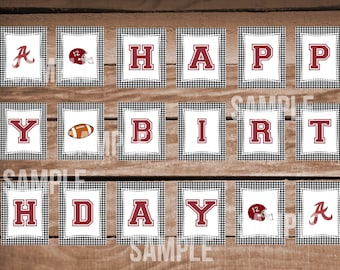Alabama Houndstooth Happy Birthday Banner- Instant Download