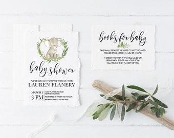 baby shower invitation suite, elephant, laurel wreath, books for baby, the details, diy editable pdf, printable, instant download