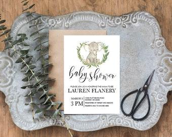 baby shower invitation, elephant, laurel wreath, diy editable pdf, printable, instant download
