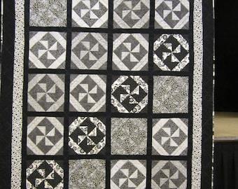 Black and White Pinwheel Quilt