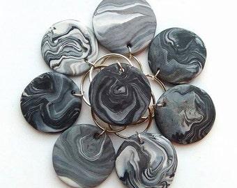 Black Marble Effect Pendant/Keyring