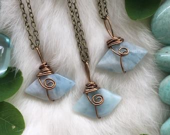 Aquamarine necklace, birthstone necklace, aquamarine, Crystal Jewelry, Blue Stone Necklace, March Birthstone, blue crystal necklace