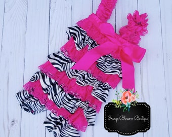 f4847107f064 Sassy Hot Pink Lace and Zebra Satin Romper