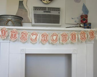 Baby Girl Shower Banner It's A Girl Baby Shower Banner New Baby Silhouette Baby Shower Banner
