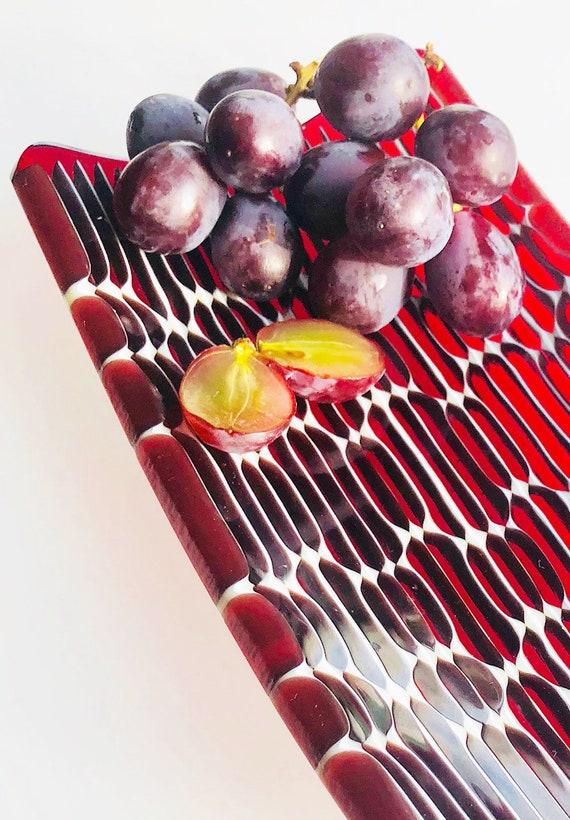Honey Comb rectangular fused glass tray in transparent ruby red.