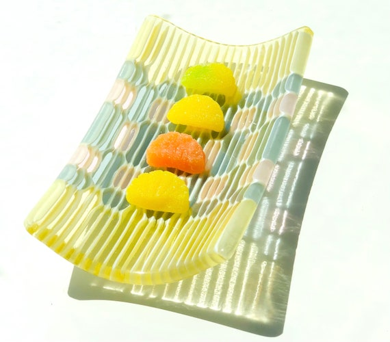 Small Honeycomb Fused Glass Tray in Pale Yellow, Blue Grey and Erbium Pink.