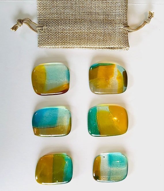 Wall Jewelry Amber and Blue Kit - Home Deco- Wall Hanging- Bright Transparent Colors.