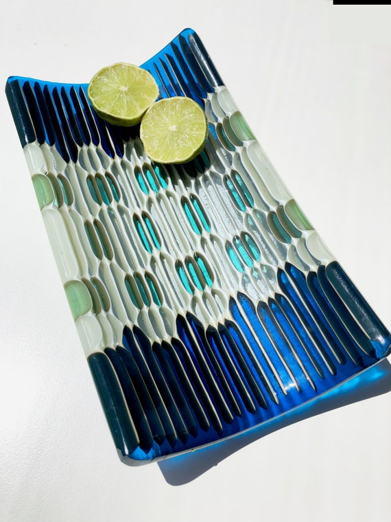 Honey Comb small fused glass tray in aquamarine blue, pale green and blue grey  transparent colors.