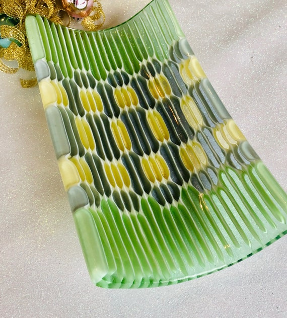 "Small ""Honeycomb"" fused Glass Tray in Spring Green, Soft Yellow and Blue Grey ."