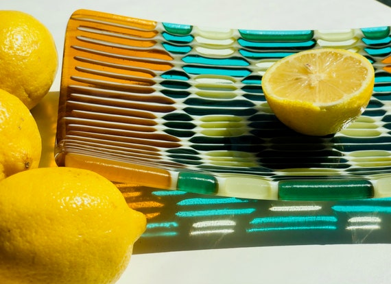 "Small ""Honeycomb"" fused Glass Tray in amber, aqua blue and green colors."