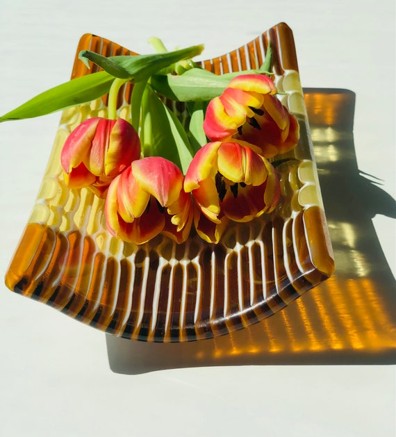 Small Honeycomb Fused Glass Tray in Bright Yellow and Dark Amber transparent colors.