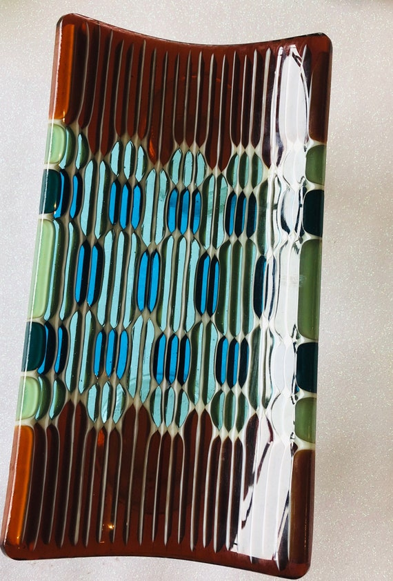 Honeycomb Small Fused Glass Tray. Aqua green, turquoise green and dark amber.