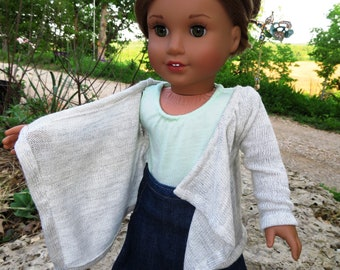 Natural white Kimono/cardigan, Made to fit 18 inch American Girl Dolls
