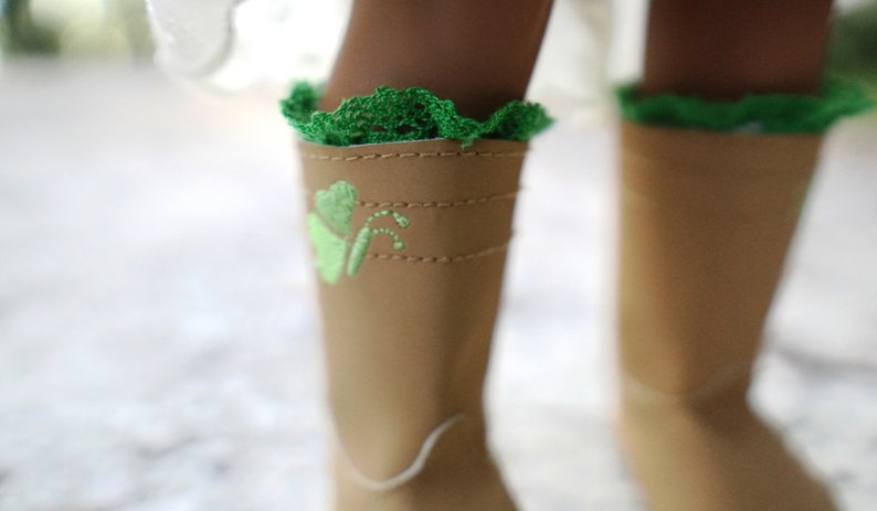 Green Lace Boot Cuffs for 18'' American Girl Dolls image 0