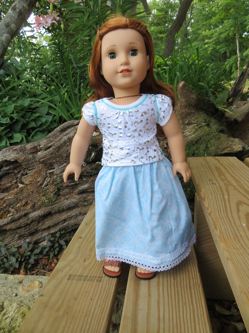 Light Blue Skirt for 18'' American Girl Dolls image 0