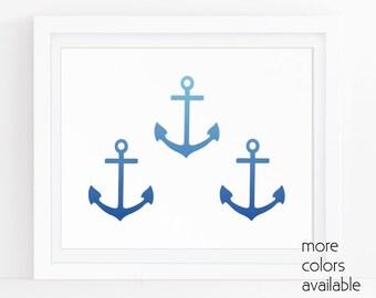 Anchor wall art, Nautical wall decor, Anchor decor, Blue print art, Ocean wall print, Seaside decor, Digital artwork, 5x7, 8x10, 11x14 206