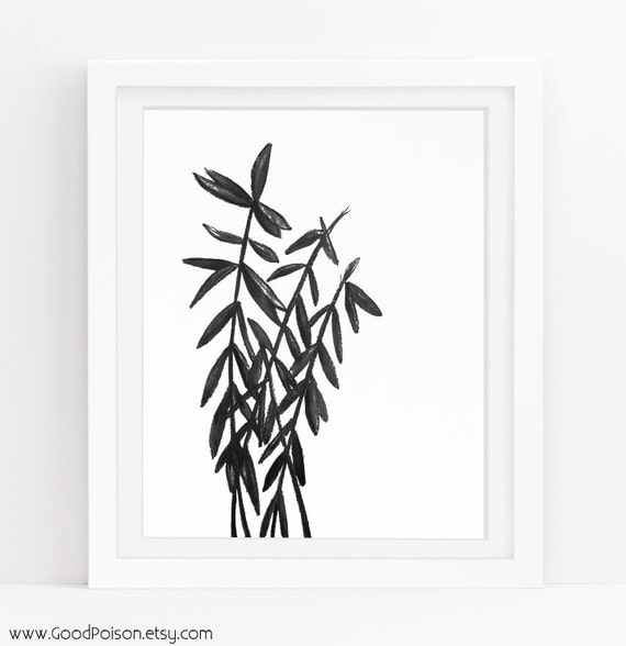 Black And White Botanical Prints Modern Rustic Nature Etsy