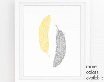 Yellow and gray wall art, Yellow feathers, Gold feathers, Yellow and grey wall decor, Gold wall art, Printable, 5x7, 8x10, 11x14  239a