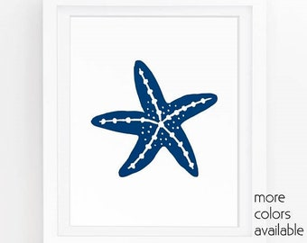 Navy artwork, Starfish art, Coastal wall art, Beach room decor, Ocean art print, Nautical prints, Digital wall art, 5x7, 8x10, 11x14  208a
