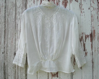 0bd252dae8ac0 Edwardian Cotton Blouse - Antique 1900s Hand Embroidered Lawn Blouse - Lace  High Collar Edwardian Top
