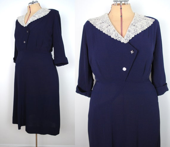 40s Navy Blue Dress - Vintage 1940s Crepe Rayon Dr