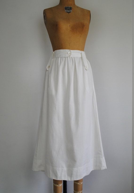 20s White Linen Skirt - Late Edwardian Teens / Ear