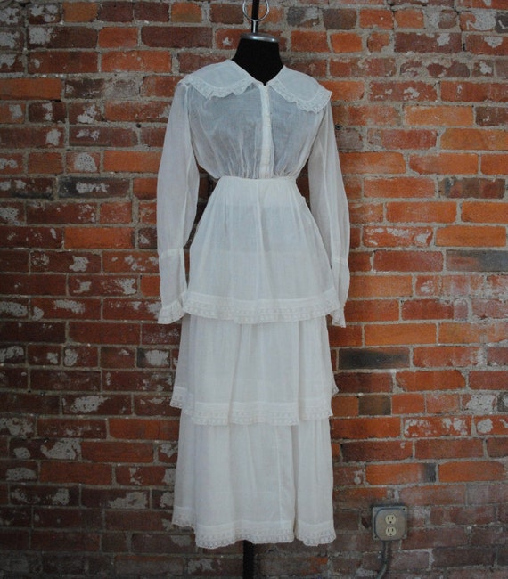 Edwardian Tiered Lawn Dress - Antique 1910s Cotton
