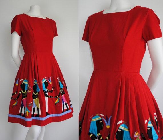 50s Egyptian Novelty Dress - Vintage 1950s Short S