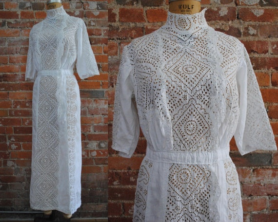 Edwardian Lawn Dress - Antique 1900s Cotton Whitew