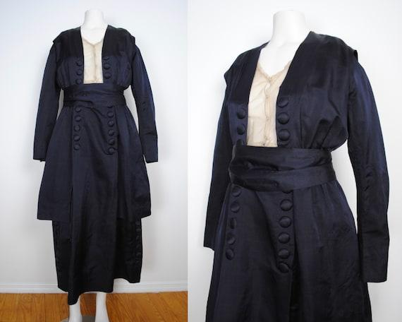 Edwardian Black Satin Dress - Antique 1910s Teens