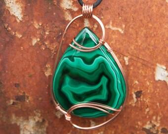 Mammoth Green Malachite Pendant, Copper Wire Wrapped Pendant, Wire Wrapped Stone Pendant, Wire Wrap Pendant, Stone Wire Wrap, Eagle Pendant