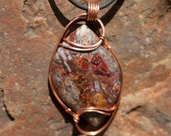 Red & Gold Flash Pietersite Pendant, Copper Wire Wrapped Pendant, Wire Wrapped Stone Pendant, Pietersite Stone Wire Wrap, Wire Wrap Stone
