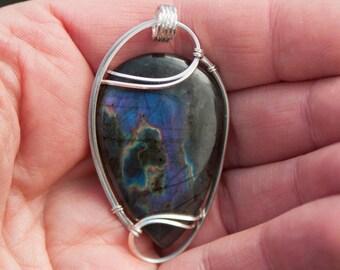 Rare Purple Spectrolite / Labradorite Pendant, Sterling Silver Wire Wrapped Stone Pendant, Stone Wire Wrap Pendant, Wire Wrapped Pendant