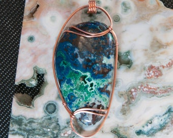 Massive Designer Azurite Malachite Pendant, Copper Wire Wrapped Stone Pendant, Malachite Azurite Stone Wire Wrap, Wire Wrapped Pendant