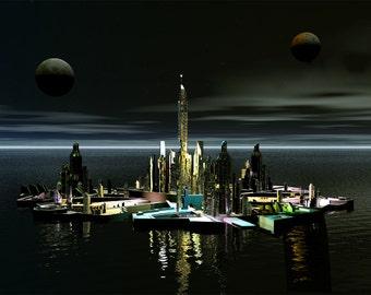 Stargate Atlantis Digital Art  Glossy Print  'Atlantis By Night'
