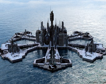 Stargate Atlantis Digital Art  Glossy Print  'Blue Atlantis'
