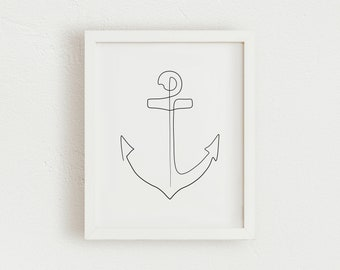 Anchor One  Line Print | Printable Contour Line Drawing | Minimalist One Line Drawing Anchor Wall Art