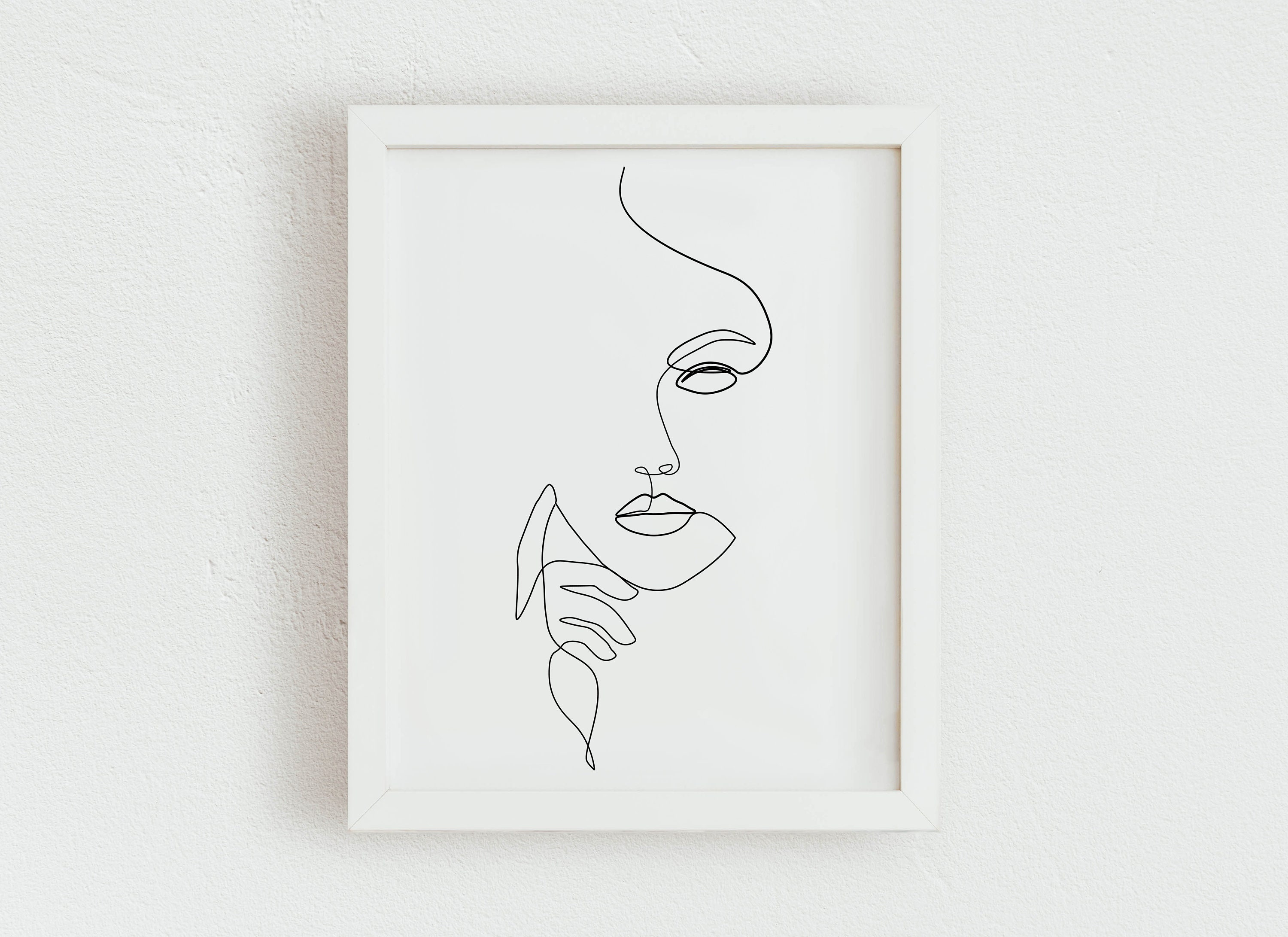 Woman Face Line Art Print, Printable Hand On Face line drawing, Abstract  Female Figure Art Print, Modern Minimalist Line Art Female Poster,