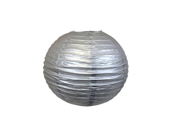 "8"" Silver Paper Lantern Party Decoration - Just Artifacts Brand - Item:RPL080004 - Paper Lanterns for Weddings, Parties, & Home Decor"