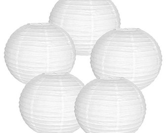 "8"" White Paper Lantern Party Decoration (Set of 5, White, 8inch)  - Item: RPL080064-5 - Paper Lanterns for Weddings, Parties, & Home Decor"