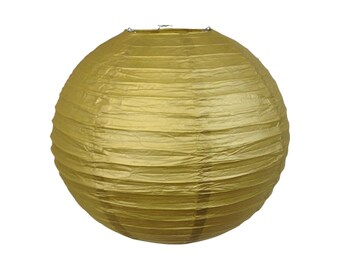 "16"" Gold Paper Lantern Party Decoration - Just Artifacts Brand - Item:RPL160005 - Paper Lanterns for Weddings, Parties, & Home Decor"