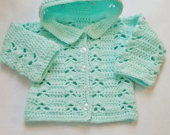 Hand Crochet Baby Sweater Sets Blankets And By Kimscreations61