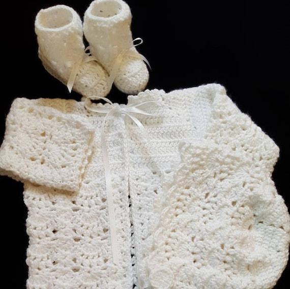 White Baby Sweater Set Newborn Sweater Infant Layette Set | Etsy