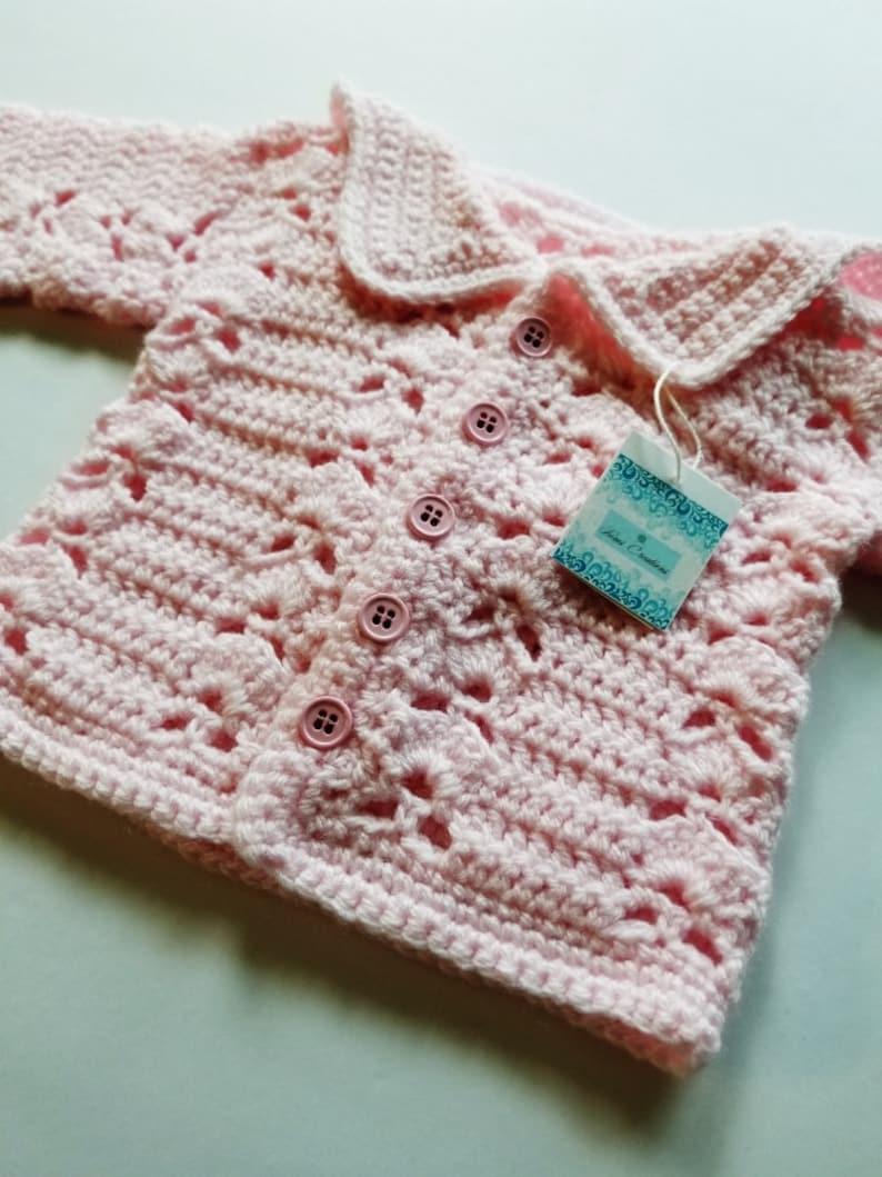 09bf28286862 Pink Girls Hooded Sweater Crochet Baby Sweater Handmade